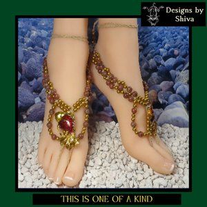Goldfish Barefoot Sandals with Red Stone Beads